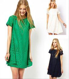 Wholesale Elegant Blue Blouse - Fashion Women Ladies Clothing Casual Lace Dress Blouse Tunic Dresses Slim Elegant Lace M203