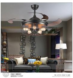 deckenventilatoren modern zeitgenössisch Rabatt 110V ~ 260V American Loft Lüfter Kronleuchter kreatives Restaurant Industrie Wohnzimmer mit Fernbedienung Licht Lüfter Kronleuchter