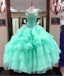 Wholesale Sweets Scoop - 2018 Mint Green Quinceanera Dresses Cascading Ruffles Tulle Junior Beaded Crystal Sweet 16 Long Prom Party Gowns Pageant Dresses Backless