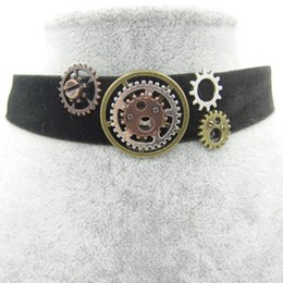 simple gears Coupons - whole saleNew Simple Style Black Farbic with DIY Vintage Gears Women`s Steampunk Velvet Choker