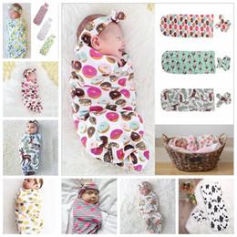 Wholesale summer sleep bag - 9 Colors Infant Floral Cotton Swaddle Blanket 2 Piece Set Sleeping Bags Muslin Wrap+Headband Newborn Baby Pajamas Hairband AAA482