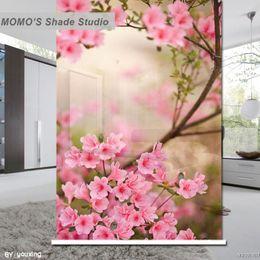 fenêtres à roulettes Promotion MOMO Blackout Floral Fenêtre Rideaux Ombres à Rouleaux Stores Tissu Isolé Thermique Tissu Taille Personnalisée, Alice 402
