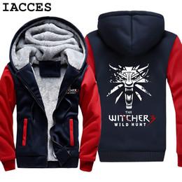 Wholesale Winter Hunting Coats - IACCES Brand Mens Game The Witcher 3 Wild Hunt Wolf Head Print Hoodies Super Warm Fleece Winter Zipper Coats Sweatshirts M-5XL