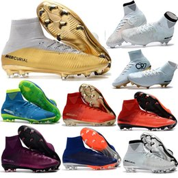 Wholesale Spike S - 2016 Kids Mercurial Superfly CR7 FG Youth Soccer Cleats Magista Obra Soccer Shoes Outdoor s League Football Boots Hypervenom II Cleats