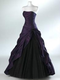Wholesale Roxo prata e preto vestido de noiva festa strapless a line comprimento total lace up de volta personalizado plus size ocasião formal