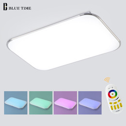 Wholesale Led Ceiling Color Changing - NEW Modern LED Ceiling Light With 2.4G RF Remote Group Controlled Dimmable Color and RGB Changing Lamp For Livingroom Bedroom
