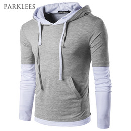 long slim fit t shirts Coupons - Hooded T Shirt Men 2017 New Long Sleeve Cotton Tee Shirt Homme Casual Slim Fit Fake Two Pieces Pocket Mens Hoodies T-shirt