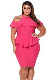 New Plus Size Summer Office Ladies Dress 2018 Cold Shoulder Peplum Bodycon  Dress Sexy Party Dress Vestido De Festa Lc220308 5f59e3787