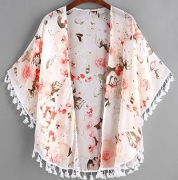 Wholesale cotton shawl printed wholesale - Newest Baby Girl Clothes Peony Printed Tassel Shawl Cardigan Tops Baby Kids Clothes Spring Summer Autumn Outwear Coat Toddler Girls Clothing
