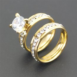 Wholesale Mens Diamonds Rings - Luxury 18K Solid Yellow Gold plated Crystal Diamond Gemstone Ring Mens Gold engagement Ring Wedding lovers couple rings for Women