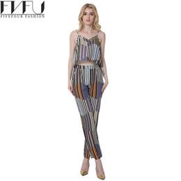 Wholesale Plus Size Vertical - 2017 Fashion Two Piece Set Women Summer Style Bohemia Vertical Stripes Two Piece Set Top And Pants Casual 2 Plus Size
