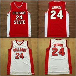 maglie di pallacanestro colore rosso Sconti Paul George Jersey 24 Basket universitario Fresno State Bulldogs maglie Rosso bianco squadra di colore tutti cuciti e ricamo Sport di buona qualità