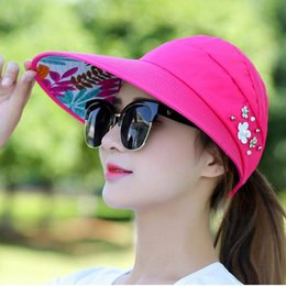 74f8942948f Nibesser 2018 Simple Women Summer Beach Sun Hats Pearl Packable Sun Visor  Hat With Big Heads Wide Brim Female Cap UV Protection on sale