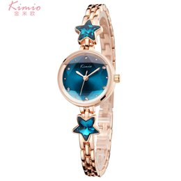 Wholesale Kimio Watches - 2018 Fashion Lady Quartz Watches Blue Stars Rhinestone Dress Bracelet Watch for Women relojes de mujer Clock Waterproof Kimio Wristwatches