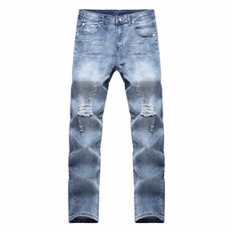 Тонкие ножи онлайн-HOT 2018 Fashion Casual Broken Ripped hole Knife Cut Knee washing hip hop Destruction Stretch Slim Jeans Men's Pants