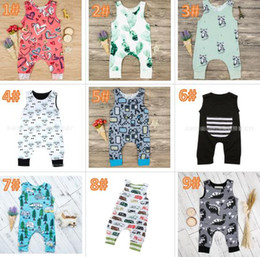 Wholesale girl clothes designs - 20 styles Baby Print Rompers Multi Designs babys Cactus Forest Road Newborn Infant Baby Girls Boys Summer Clothes Jumpsuit Playsuits 3-18M