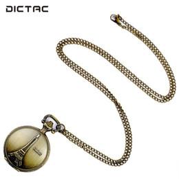 2019 weißgold adler anhänger SOLEDI Fob Taschenuhr Anhänger Halskette Eiffelturm Retro Ziffern Taschenuhr Halskette Kette Pullover Kette Quarz Schmuck