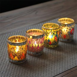 Wholesale Arrival Activities - Classical Mini Candlestick Practical Durable Hand Made Candler Cylindrical Shape Glass Mosaic Candle Holders New Arrival 7zb Y