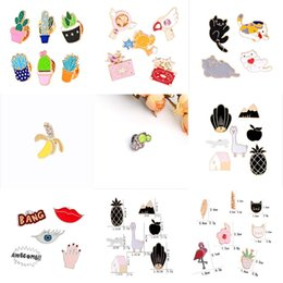 Wholesale Christmas Sexy Suit - 2018 new dripping brooch sexy red lips eyes palm letters brooch diamond-studded banana brooch shirt suit accessories Apple House hot