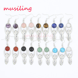 Wholesale Yoga Earrings - Long Drop Earrings Jewelry For Women Silver Plated Yoga people Chakra Reiki Natural Stone Earring Accessories Jewelry