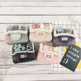 Argentina Vieeoease Girls Bag Cute Flower Bear bag Monedero 2018 Otoño Moda Bead Pearl Kids Crossbody Bolsa de cadena EE-676 Suministro