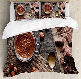 edredão de chocolate Desconto Conjunto de Capa de Edredão moderna Natural Chocolate Cacau Creme Imagem Art Design Superfície De Madeira 4 Peça Conjuntos de Cama Marrom