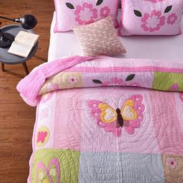 Canada Rose Applique Couvre-lit Quilt Set 3pcs Couverture De Coton À La Main Couettes Couvre-Lit Queen Taille 220 * 240cm Couverture Souple supplier girls applique bedding Offre