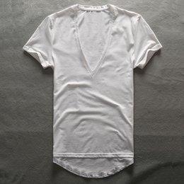 Collo di profondità della maglietta degli uomini online-Zecmos Deep V Neck T-Shirt Uomo Plain Scollo AV T-Shirt Per Gli Uomini 2017 Moda Compressione Top Tees Padri Maschile Regali di Giorno