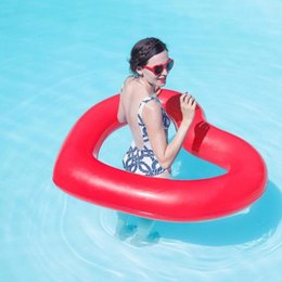 Wholesale Life Float Ring - Cute Lovely Swim Buoy Heart Shaped Swimming Pool Float Lounger Tube Inflatable PVC Swim Ring Life Buoy Life Ring Party Toys