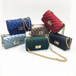 Wholesale Matt Chain - 6 Colors Matt Jelly Chains Diamond Lattice Shoulder Bag For Women Casual Messenger Bag Purse Crossbody 22*7*13