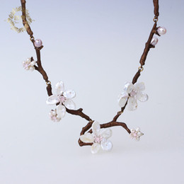 Wholesale Gold Freshwater Pearl Necklace - 2017 Amybaby Vintage Cherry Blossoms Hand patinaed Bronze Freshwater Pearls Necklace Brooch Earring Bracelet Jewelry sets