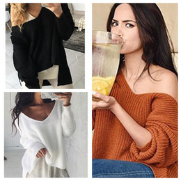 Wholesale Wholesale Jumper Knit - Women Irregular V Neck Knitted Shirts Long Sleeve Sweater Jumper Pullover Casual Knit Top Sweaters LJJO4386