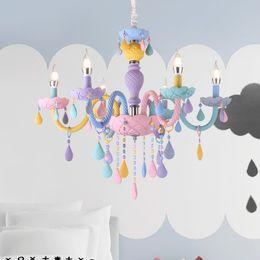 araña moderna de cristales de colores Rebajas Moderno LED luces de araña Kid Room Colorful Crystal Metal Fixture de luz dormitorio niños lámpara de techo interior decoración del hogar