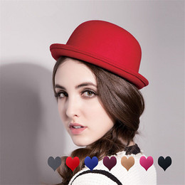 Wholesale Cheap Blue Roll - Women Fedoras Hat Felt Winter Derby Bowler Lovely Nice Cap Cheap Roll Brim Dome Black Top Hat Solid Felt Wool Fedora Hat Bowler