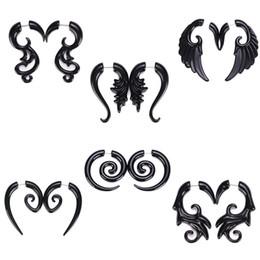 Wholesale wholesale ethnic earrings for women - Ethnic Black Spiral Earrings Piercing Ear Stud Earring Acrylic Tunnels Piercing Earring Punk Jewelry For Women Mix Designs ZY