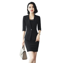 b87315d58cd two piece set top and skirt women office dress suits plus size elegant pencil  dress and blazer summer bodycon office set