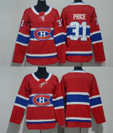 2019 leere rote hockey-trikots 2018 Männer Frauen Jugend Kinder Montreal Canadiens 31 Carey Price Blank Red Trikots Alle genähten Hockey Jersey Boy Girls günstig leere rote hockey-trikots
