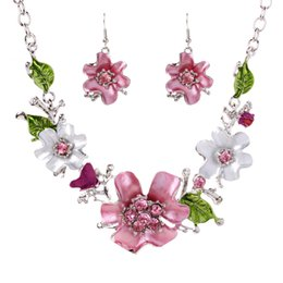 french christmas gifts Promo Codes - Bohemia Fashion Women Costume Jewelry sets Pink Crystal Enamel Flower Pendant Necklace Earrings French Romantic Party Jewelry