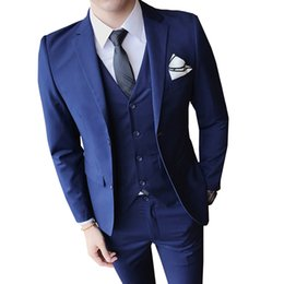 männer elegante weste Rabatt Herrenanzug 3-teiliges Set Pure Color Jacken Hosen Westen Geschäft Wedding Banquet Man Jugend einfach Slim Fit elegante Smokings