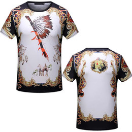 Wholesale Blue Staff - Medusa t shirts Italy designer T-shirts Ancient staff Gold Floral Print Mens Slim Fit tee shirts 2018 Spring Casual tshirt Short Sleeve Tops