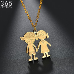 wedding pendant for boys Coupons - 2018 Hot Sale Stainless Steel Boy Girl Necklace For Women Gold Color Lovers Couple Pendant Necklaces Wedding Gift