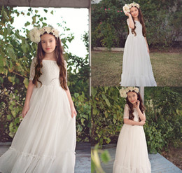 fcd77dd697a 2018 White Bohemian Flower Girl Dresses A Line Short Sleeve Floor Length  Elegant Girls Pageant Dress Party Evening Wear Prom Gowns
