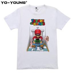 2019 chemises en coton peigné Super Mario Throne of Game Hommes T Shirts Funny Design Impression numérique 100% 180gsm coton peigné T-shirts occasionnels Personnalisé promotion chemises en coton peigné