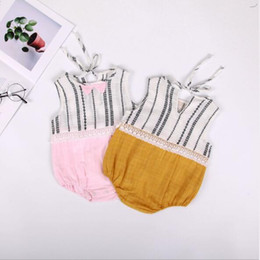 Wholesale baby breathing - romper 2018 INS Baby kids new summer styles Fringed lace romper casual cotton breathe freely kids girls romper 2 colors free shipping