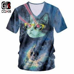 2020 galaxy cat t shirts Camiseta OGKB 2018 New Star cat ray V Nick Neck camiseta Funny Purple Galaxy Space impresión 3D Autumn cat Camiseta manga corta masculina rebajas galaxy cat t shirts