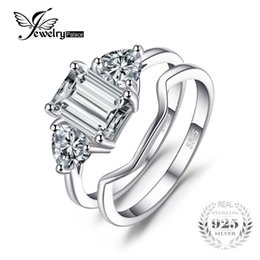 Wholesale Emerald Cut Sterling Silver Ring - whole saleJewelryPalace Emeralds Cut Cubic Zirconia 3 Stone Wedding Bridal Ring Set 925 Sterling Silver For Fashion Women Birthday Present