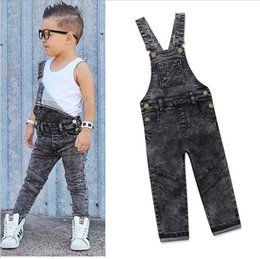 Wholesale boys bib overalls - Boys Bib Jeans Child Jumpsuit Jean Overalls Cute Letter Denim Infant Boy Children's Clothing Pants Bodysuit 1 2 3 4 5 Years