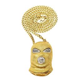 Wholesale hip nightclub - Fashion Hip hop Counter-terrorism Headgear Pendant creative Necklace Bars and nightclubs alloy diamond unisex men male Christmas
