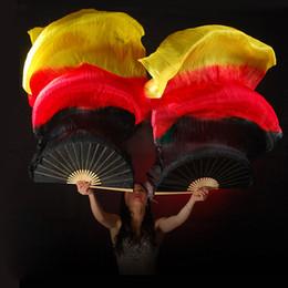 Actuación de danza del vientre online-18 colores Stage Performance Property Fans de baile 100% Seda Velos de colores 180cm Mujeres Belly Dance Fan Velos (2 piezas)