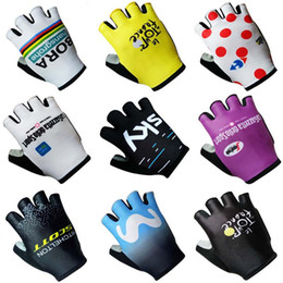 Wholesale mtb gloves - 2018 New team BORA Cycling Gloves Half Finger Lampre Outdoor Sports Cycling Motorcycle Racing bike Glovers Fitness MTB Road Bike Gloves C231